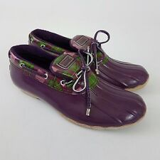 Sperry Top Sider Waterproof Low Rain Rubber Duck Boots Purple Check Size 9 US