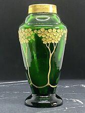 Glasvase Jugendstil florale Goldmalerei und Schliff, Glasvase Art Nouveau grün
