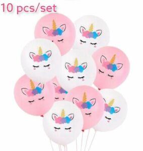 Unicorn Pink White Print Cute Latex Balloons Assorted Girls Birthday Party Kids