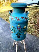 Vintage 10 Gallon Steel Milk Can  - Pennsylvania Dutch Decorated