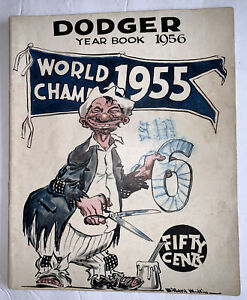 Vintage 1956 Brooklyn Dodgers Official Baseball Yearbook World Champions 1955