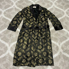 Vintage Solz Squirrel Chinese Brocade Kimono Robe Men's 52 XL Black/Gold Dragons