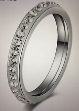 Eternity Stainless Steel Ring Silver Color Single Row small CZ Women's Size 8