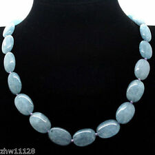 "Natural 13x18mm Brazilian Aquamarine Gemstones Oval Beads Necklace 18"""