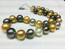 """huge 18""""10-11mm south sea black white gold gray round pearl necklace"""