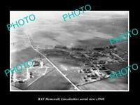OLD POSTCARD SIZE MILITARY PHOTO AERIAL VIEW OF RAF HEMSWELL LINCOLNSHIRE c1940