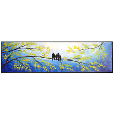 YA699 Wall decor Canvas Large Happy birds Hand-painted Unframed 180cm