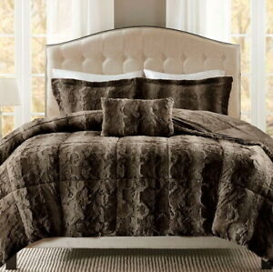 BROWN PLUSH ULTRA FAUX FUR 3pc COMFORTER SET : LUXURY SOFT MINK SHAG BEAR HUG