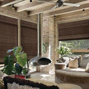 NEW Radiance Espresso Cordless Flat Weave Bamboo Roman Shade