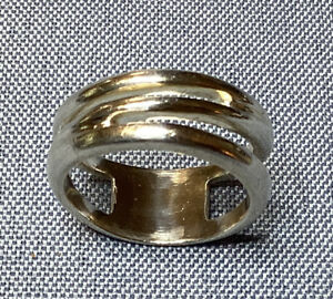 Tiffany & Co. Italy Sterling Silver Ring Zig Zag Design Band Ring Size 9 1/2