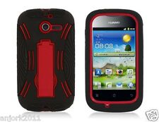Huawei Ascend Y M866 Hybrid Armor Case Skin Cover w/ Stand Black Red