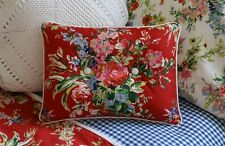 NEW Custom Ralph Lauren Belle Harbor Red Floral Accent Pillow 2 Button Wht Twill