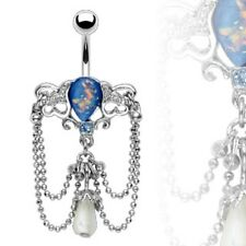 316L Surgical Steel Chandelier Dangle Navel Belly Ring w/Synthetic Blue Opal
