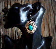 Boho Metal Turquoise Tribal Concho Earring Dangle Hook - Silver Burnished