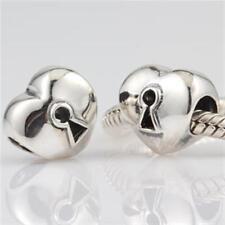 NEW 925 Sterling Silver European Bracelet Charm Bead Keyed Heart Love
