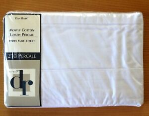 """NEW in Package DAN RIVER White Twin Flat Sheet Luxury Percale 66""""x96"""""""