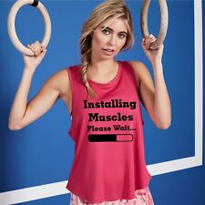 Installing Muscles Womens Funny Vest Running Exercise Ladies Fitness Sports Top
