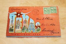 Vintage 1940s Greetings From Texas EC Kropp Co. SOUVENIR LINEN POSTCARD FOLDER