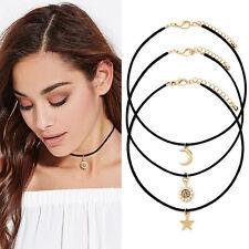 NEW 3pcs/Set Ladies Gold Star Moon Sun Pendant Charm Black Cord Choker Necklace