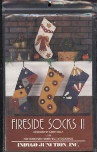 "Indygo Junction IJ336 Pattern ""Fireside Socks II"" Appliqued Christmas Stockings"