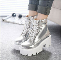 womens Fashion ankle boots retro chunky heel platform lace up leisure 5 color