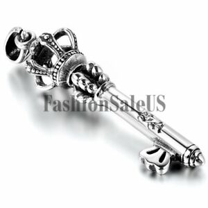 Stainless Steel Imperial Crown Key Charm Pendant Necklace Chain For Men Women