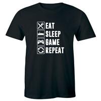Eat Sleep Game Repeat Gamer Men's T-Shirt Funny Nerd Geek Gaming Tee