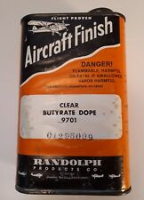 """RARE AMERICAN (CARLSTADT, NEW JERSEY) """"AIRCRAFT FINISH - DOPE"""" TIN - PAPER LABEL"""