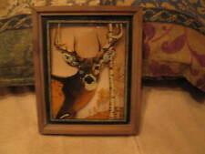 """Vintage Lulu's Inc Framed Deer Picture On Glass 1978 11""""x9"""""""