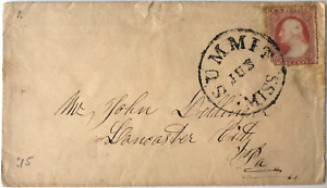 US#44 3c CONFEDERATE STATES COVER to USA, Summit, Miss. to Lancaster City, PA