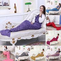 Mermaid Tail Sofa Blanket Super Warm Soft  Hand Crocheted Knitting Sofa Blanket