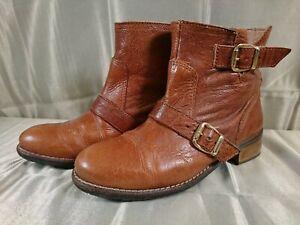 Office Tan Leather Ankle Boots Block Heel Strap & Buckle UK3 EU36