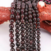 """15"""" Strand Natural Round Loose Garnet Charms Spacer Beads Finding DIY 4 -12 mm"""
