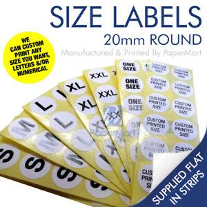 50 x Round Self Adhesive Sticky Size Labels Stickers - 20mm Dia - S M L XL XXL