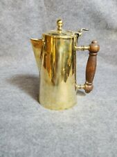 Brass By Blake Brass Teapot with wood handle, 7 1/2 inches tall.