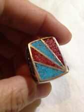 1980's Vintage Inlay Stone Large Stainless Steel  Men's Size 7.5 Ring
