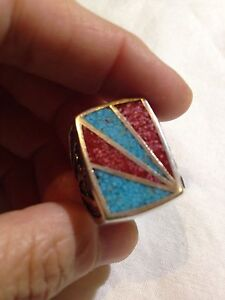 Vintage Coral Turquoise Stone Inlay Southwestern Silver Men's Size 7.75 Ring