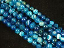 Gemstone Beads Blue Stripe Agate 8mm Round Beads 35cm Strand FREE POSTAGE