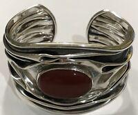 Dominque Dinouart Domingo DDD Carnelian Wavy Cuff Sterling Silver Bracelet