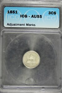 1851 - ICG AU55 Three Cent Silver!!  #B21576