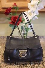 TOD'S  Black Leather CLASP Lock Shoulder Bag PURSE (PU160