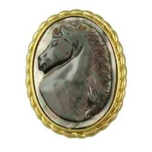Abalone Shell Horse Cameo Brooch Pin/Pendant - SLP918