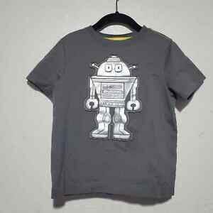 Hanna Andersson Gray Short Sleeve T Shirt Robot Shiny Stains Boys 4T Play School