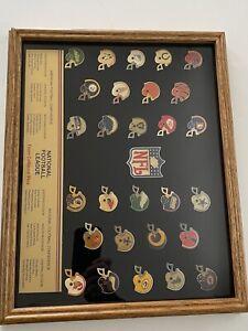 Vtg NFL Peter David Team Helmet Pin Collection 28 Teams 1984-85 Framed A3971