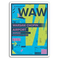 2 x 10cm WAW Warsaw Chopin Airport Vinyl Stickers - Poland Travel Sticker #17435