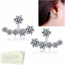 Genuine Swarovski Crystals White Gold Plated Stud Solitaire Earrings