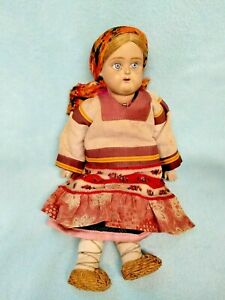 💙 RARE ANTIQUE RUSSIAN Painted Bisque/Terra Cotta Doll DUNAEV Factory A/O USSR