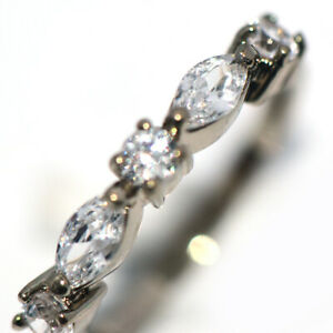 Womens Fashion Rings Party Jewelry Crystal Band Ring Silver Woman Ring Size 6