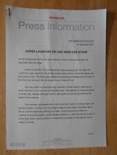 HONDA ON LINE USED CAR STORE orig 2001 UK Mkt Press Release - Brochure