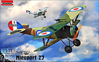 Roden 061 - Nieuport 27c1 French Biplane WWI - 1/72 Scale Model Kit 113 mm